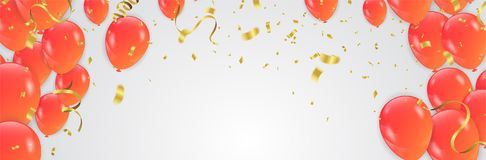 Orange balloons, vector illustration. Confetti and ribbons, Cele. Bration background template with Royalty Free Stock Photography