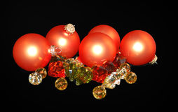 Orange balls and crystals. Royalty Free Stock Photography