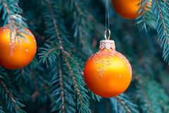 Orange balls on spruce, part of the Christmas tree with Christmas decorations.  royalty free stock images