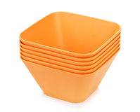 Orange Bamboo Bowls Set Stock Images