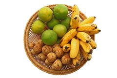 Orange Banana and Longan, in Basket Stock Photo