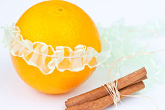 Orange with band. And cinnamon Royalty Free Stock Images