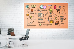 Orange banner with business sketch Royalty Free Stock Photos
