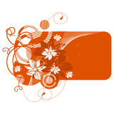 Orange banner with flowers Stock Image