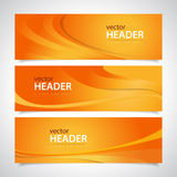 Orange banners. Set of orange abstract wavy banners Stock Images