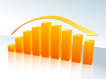 Orange bar graph with arrow. Increase and decrease three-dimensional bar graph Royalty Free Stock Photos
