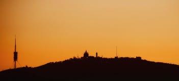 Orange Barcelona Sunset Skyline. BARCELONA/SPAIN - 6 AUGUST 2016: Orange Barcelona skyline at dusk stock photos