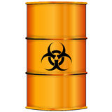 Orange barrel with bioi hazard sign Royalty Free Stock Photos