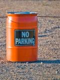 Orange barrel with warning sign Royalty Free Stock Photography