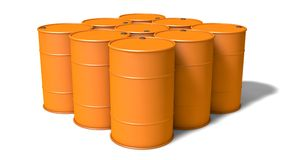 Orange barrels. 3d orange barrels stack. on white Stock Image
