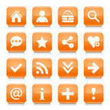 Orange basic sign rounded square icon web button. 16 basic icon set 05. White sign on orange rounded square button with gray reflection, black shadow on white Stock Photo