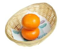 Orange in basket Royalty Free Stock Photography
