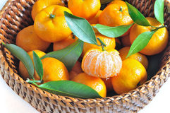 Orange in basket Royalty Free Stock Photos