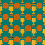 Orange basketball ball and gold cup seamless pattern vector illustration. Stock Photography