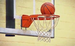 Orange basketball in hoop impressionism Royalty Free Stock Photos