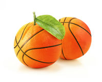 Orange basketball. ! with leaf, creative concept Stock Photo
