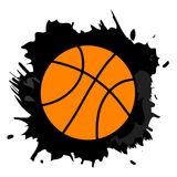 Orange Basketballball im schwarzen Farbenspritzen, Vektor illustratio Stockbild