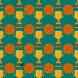 Orange Basketballball und -gold höhlen nahtlose Mustervektorillustration Stockfotografie