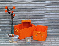 Orange baskets royalty free stock photography