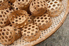 Orange basketwork with bamboo. Used for food package Stock Images