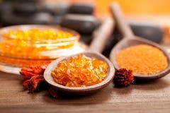 Orange bath salt Royalty Free Stock Images