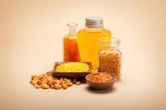 Orange bath salt and essential oil Stock Photo