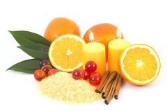 Orange bath salt with fresh fruits Royalty Free Stock Photos