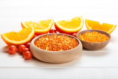 Orange bath salt and fruits Royalty Free Stock Image