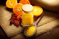 Orange bath salt and fruits Royalty Free Stock Photo
