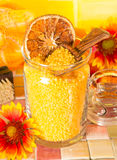 Orange bath salts stock photos