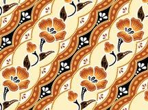 Orange Batik härlig orange bakgrund och blommor Royaltyfri Fotografi