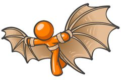 Orange Batman. A background illustration of a orange man with bat wings Royalty Free Stock Image