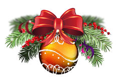 Orange bauble with red bow Stock Photography