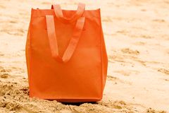 Orange beach bag Stock Images