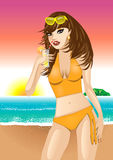 Orange Beach Girl Stock Photo