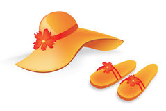 Orange beach hat and slippers Stock Images