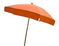 Orange beach umbrella isolated on white royalty free stock photography