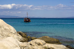 Orange Beach view in Greece Stock Photo