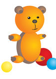 Orange bear. A  illustration of a orange teddy bear with tree colorful balls Royalty Free Stock Image