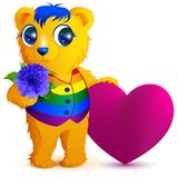 Orange bear in an rainbow vest holds flower and red heart. Valentines Day for LGBT community. Isolated on white vector cartoon illustration Stock Photo