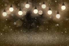Orange beautiful bright glitter lights defocused bokeh abstract background with light bulbs and falling snow flakes fly, festival. Orange wonderful sparkling stock illustration