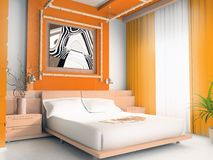 Orange bedroom. Interior of a sleeping room 3d image Royalty Free Stock Image
