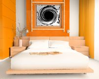 Orange bedroom. Interior of a sleeping room 3d image Royalty Free Stock Images