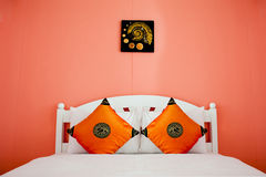 orange Bedroom in a modern house Royalty Free Stock Photography