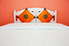 Orange Bedroom in a modern house Royalty Free Stock Photos
