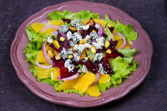 Orange, Beetroot, Blue Cheese, Red Onion and Pistachios Salad. Royalty Free Stock Photography