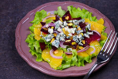 Orange, Beetroot, Blue Cheese, Red Onion and Pistachios Salad. Royalty Free Stock Photos