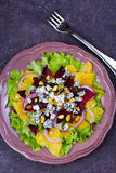 Orange, Beetroot, Blue Cheese, Red Onion and Pistachios Salad. Royalty Free Stock Images