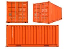 Orange behållare i 3D som isoleras på vit Arkivbilder