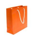 Orange bereiten Papierbeutel auf Stockfotografie